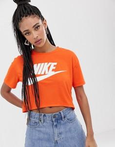 Оранжевая футболка с логотипом-галочкой Nike-Оранжевый