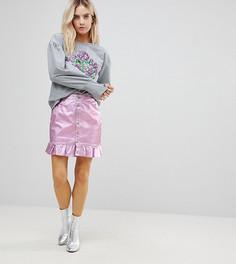 Розовая джинсовая юбка с оборкой Chorus Petite-Розовый