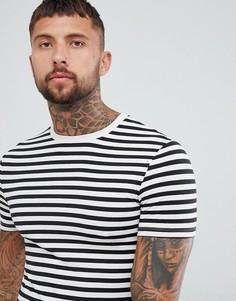 Черно-белая обтягивающая футболка в полоску ASOS DESIGN-Черный