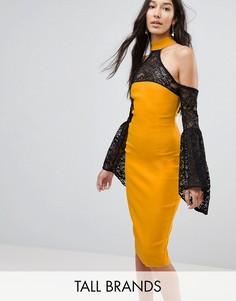 Платье с открытыми плечами и кружевными рукавами клеш Vesper Tall-Желтый