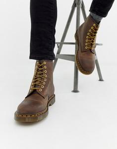 Коричневые ботинки с 8 парами люверсов Dr Martens 1460-Коричневый