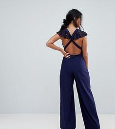 Кружевной комбинезон с запахом и широкими штанинами ASOS PETITE-Темно-синий