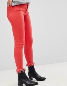 Цветные джинсы скинни с необработанным низом Only-Красный