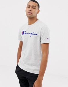 Серая футболка с логотипом Champion-Серый