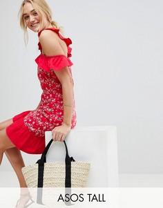 Сарафан с открытыми плечами и вышивкой ришелье ASOS TALL-Красный