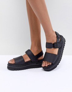 Черные кожаные сандалии на толстой плоской подошве Dr Martens Voss-Черный