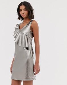 Свободное серое платье мини с оборками и эффектом металлик Vila-Серый