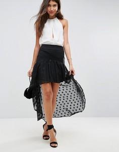 Асимметричная юбка с шифоновой оборкой ASOS DESIGN-Черный