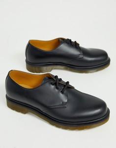 Черные туфли с 3 парами люверсов Dr.Martens 1461 pw-Черный