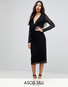 Кружевное платье-футляр миди с длинными рукавами ASOS TALL-Черный
