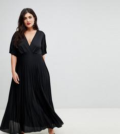 Платье-кимоно макси с плиссировкой ASOS DESIGN Curve-Черный