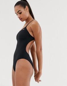 Черный слитный купальник с вырезом Nike