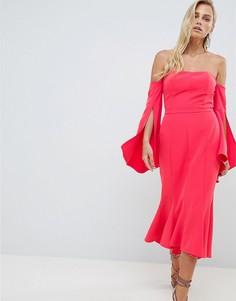 Платье миди с широким вырезом и годе Forever New-Красный