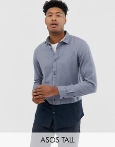 Рубашка классического кроя в стиле колор блок с контрастными пуговицами Selected Homme-Темно-синий