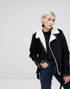 Куртка-авиатор с подкладкой из искусственного меха Vila-Черный