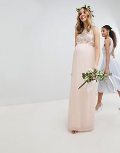 Платье макси с отделкой пайетками на лифе TFNC Maternity-Розовый