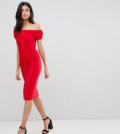 Облегающее платье миди с оборкой по центру ASOS DESIGN Tall-Красный