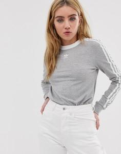 Серый лонгслив с тремя полосками adidas Originals