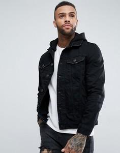 Черная джинсовая куртка со съемным капюшоном River Island-Черный