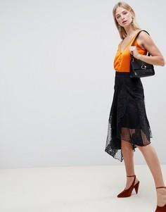 Кружевная асимметричная юбка миди River Island-Черный