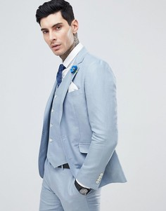 Однотонный пиджак узкого кроя Gianni Feraud Wedding-Синий