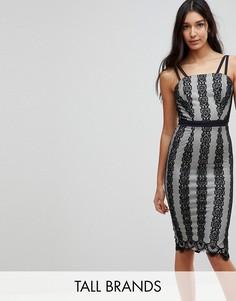 Платье миди с контрастным кружевом Little Mistress Tall-Черный