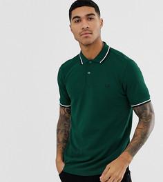 Зеленая футболка-поло с отделкой двойным кантом и логотипом Fred Perry эксклюзивно для ASOS-Зеленый