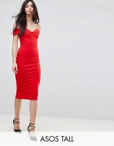 Платье-футляр миди с открытыми плечами ASOS TALL-Мульти