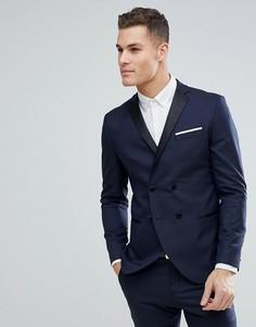 Двубортный пиджак-смокинг узкого кроя Selected Homme-Темно-синий