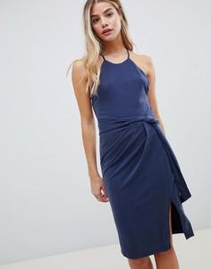 Платье мини с поясом Stylestalker-Темно-синий