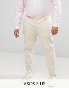 Светло-бежевые эластичные облегающие брюки из хлопка ASOS DESIGN Plus wedding-Серый