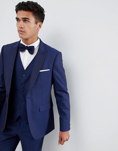 Пиджак-смокинг приталенного кроя Burton Menswear-Синий