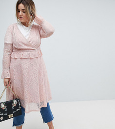 Кружевное платье миди с запахом Lovedrobe-Розовый