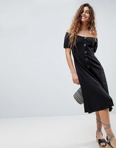 Платье миди на пуговицах ASOS-Черный