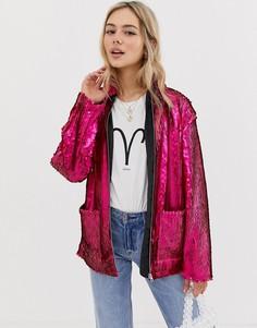 Куртка с пайетками ASOS DESIGN-Розовый