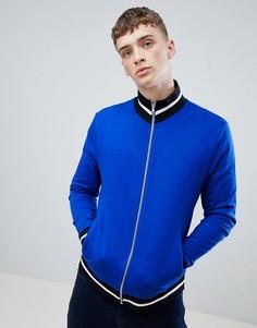 Ярко-синяя трикотажная куртка с контрастной отделкой ASOS DESIGN-Синий