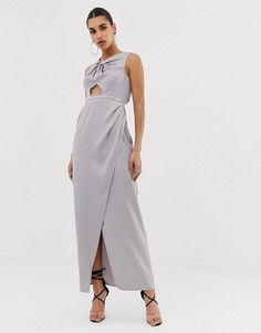 Платье макси с отделкой искусственным жемчугом и перекрученным дизайном ASOS DESIGN-Розовый