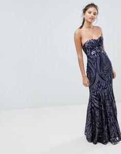 Платье макси с пайетками Club L-Темно-синий