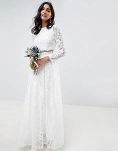 Кружевное свадебное платье макси с укороченным топом и длинными рукавами ASOS EDITION-Белый
