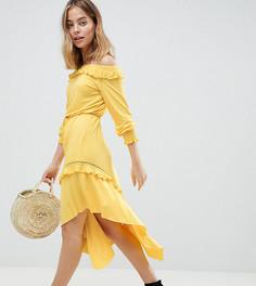 Чайное платье миди с открытыми плечами и присборенными манжетами ASOS DESIGN Petite-Желтый