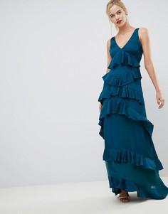 Платье макси с оборками Y.A.S-Синий