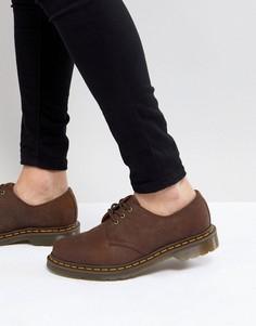 Коричневые туфли с 3 парами люверсов Dr Martens original 11838201-Коричневый