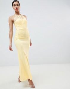 Кружевное панельное платье макси Little Mistress-Желтый