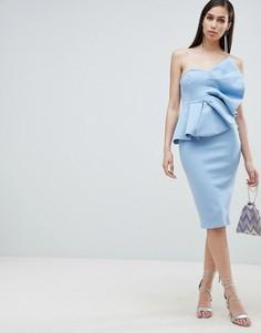 Платье-бандо миди ASOS DESIGN-Синий