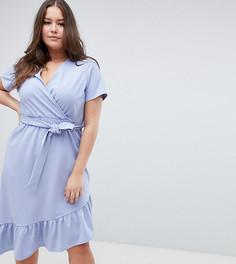 Платье миди с поясом и оборкой ASOS DESIGN Curve-Синий