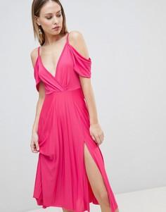 Плиссированное платье миди с открытыми плечами ASOS DESIGN-Розовый