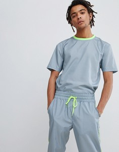 Свободная серая футболка в клеточку ASOS DESIGN-Серый