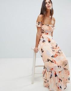 Платье миди с оборкой на подоле и принтом Y.A.S-Мульти