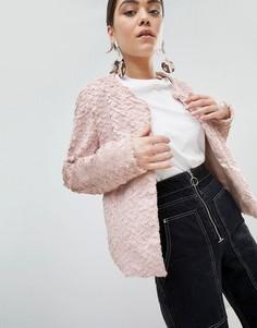 Полушубок из искусственного меха без воротника Unreal Fur-Розовый