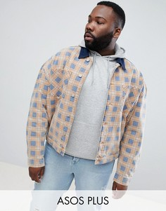 Оранжевая джинсовая oversize-куртка в клетку ASOS DESIGN Plus-Оранжевый